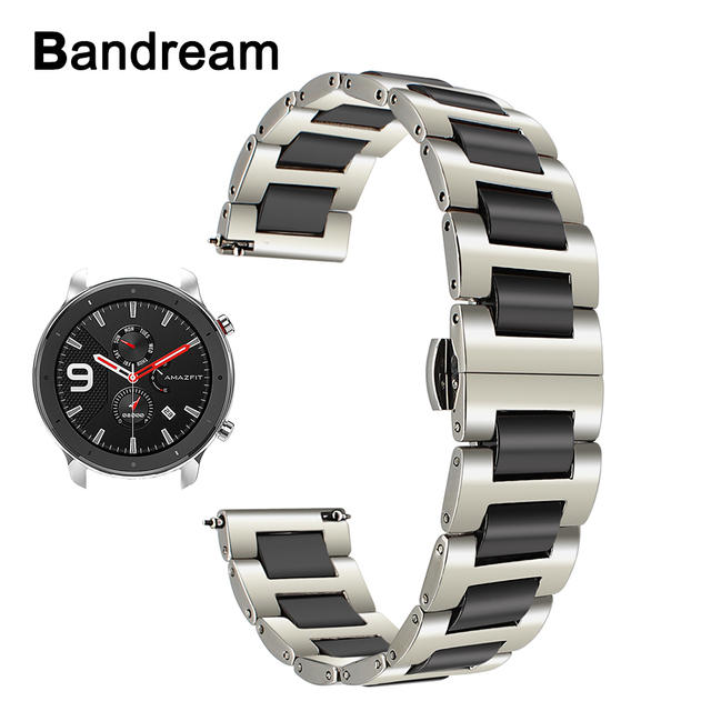 Keramische + Rvs Horlogeband voor Huami Amazfit GTR 47mm 42mm Mannen Vrouwen Watch Band Quick Release Strap pols Riem Armband