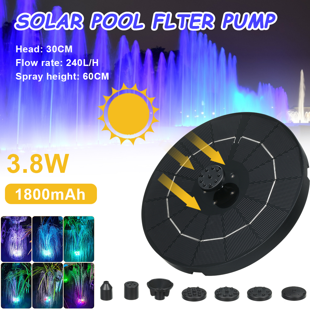 3.8W Solar Water Fountain Pump Colorful LED Lights Floating Garden Fountain Pump Swimming Pools Pond Lawn Decor