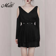Max Spri 2019 New Sexy 2 Pieces Sets V Neck Cold Shoulder Long Sleeve Wrap Top Pearl Pleated Mini Skirt Lady Fashion Party Dress pearl and applique embellished cold shoulder dress