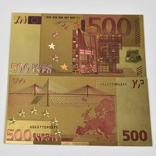 Gold 500 EuroBanknote Money Paper European Colorful Foil Banknotes with Envelope