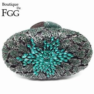 Image 5 - Boutique De FGG Champagne Peach Color Women Crystal Bags Evening Purse Metal Hardcase Wedding Party Minaudiere Handbag Clutch