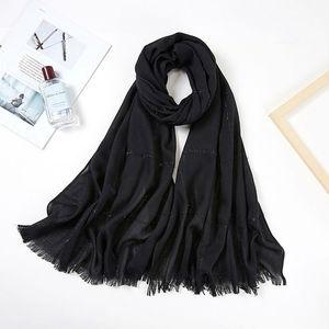 Image 3 - Fashionable Viscose Cotton Muslim Hijab Scarf Women Headband Glitter Stripe Fringe Long Shawl Arab Pashmina Islamic Head Scarf
