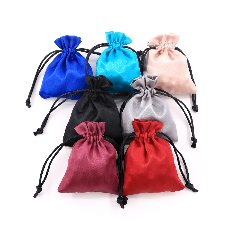 10pcs Silk Drawstring Bag Luxury Satin Wedding Jewelry Packaging Bag Small Ring Earring Jewelry Storage Bag Gift Pouches 7colors