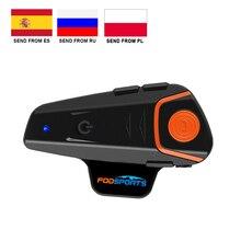 Fodsports oreillette Bluetooth pour moto, appareil de communication pour casque, Interphone résistant à leau et sans fil, kit mains libres BT, FM, stéréo, musique, BT S2