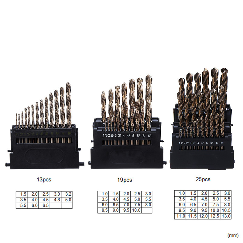 M42 HSS-Co Twist Drill Bit Set 3 Edge Head 8% High Cobalt Drill Bit hardness 68-70 HRC for Stainless Steel Wood Metal Drilling