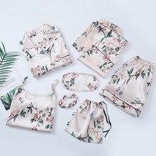 Print Flower Lady 7PCS Sleepwear Summer New Women Pajamas SET