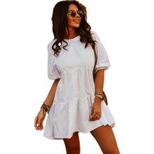 Summer Dress 2021 Women Elegant Leisure Mini Short Dress Slim Casual White Sweet Ruffle Dress Robe Femme Vestido De Mujer Y2k
