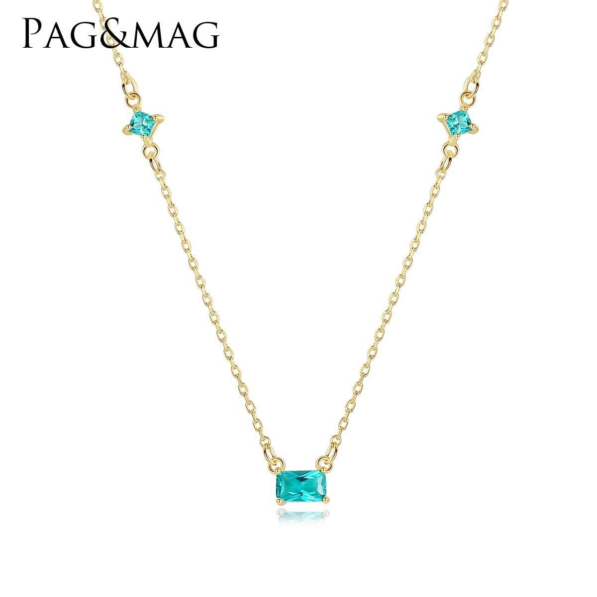 PAG & MAG S925 pendentif de collier au trésor de couleur argent, chaîne de clavicule femelle en pierre naturelle synthétique vert olive