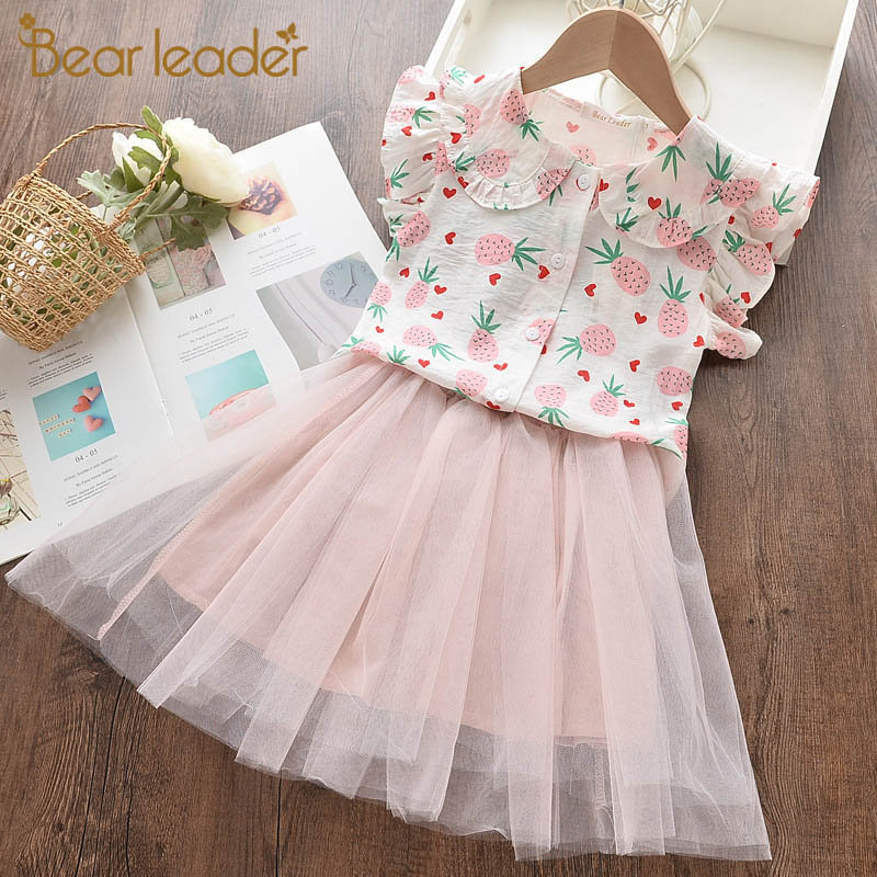 Bear Leader Kids Girl Dress 2020 New Summer Girls Princess Dress Fruits Pattern Mesh Costumes Girls Children Vestidos Clothing