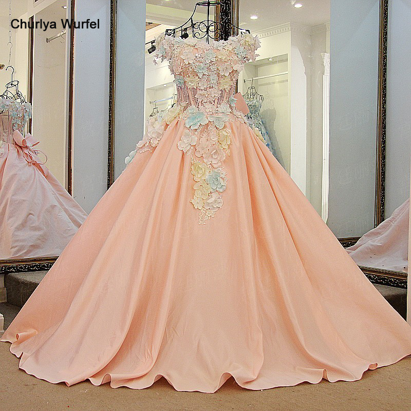 LS64710 Lovely pink flowers   evening     dress   floor length short sleeves corset back ball gown prom   dress   2016 100% real photos