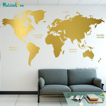 Gold World Map Decal Geometric Wall Art Home Office Decor Sticker Gift Vinyl wall sticker decal art JH030 1