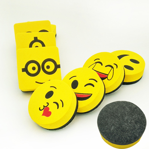 4pcs Yellow Smile Face Whiteboard Eraser Magnetic Board Erasers Wipe Dry School Blackboard Marker Cleaner 6 Styles Randomly Sent