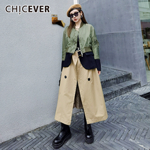 Color-Coat Patchwork Women Long-Sleeve Autumn Fashion Turtleneck Streetwear CHICEVER