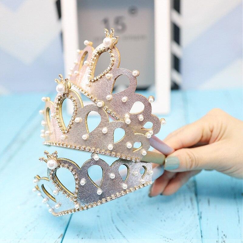 Resale Glitter Felt Crown Solid Hairband Pearls Royal Style Kids Headbands Shinning Crystal Alloy Crown Girls Headbands Prince