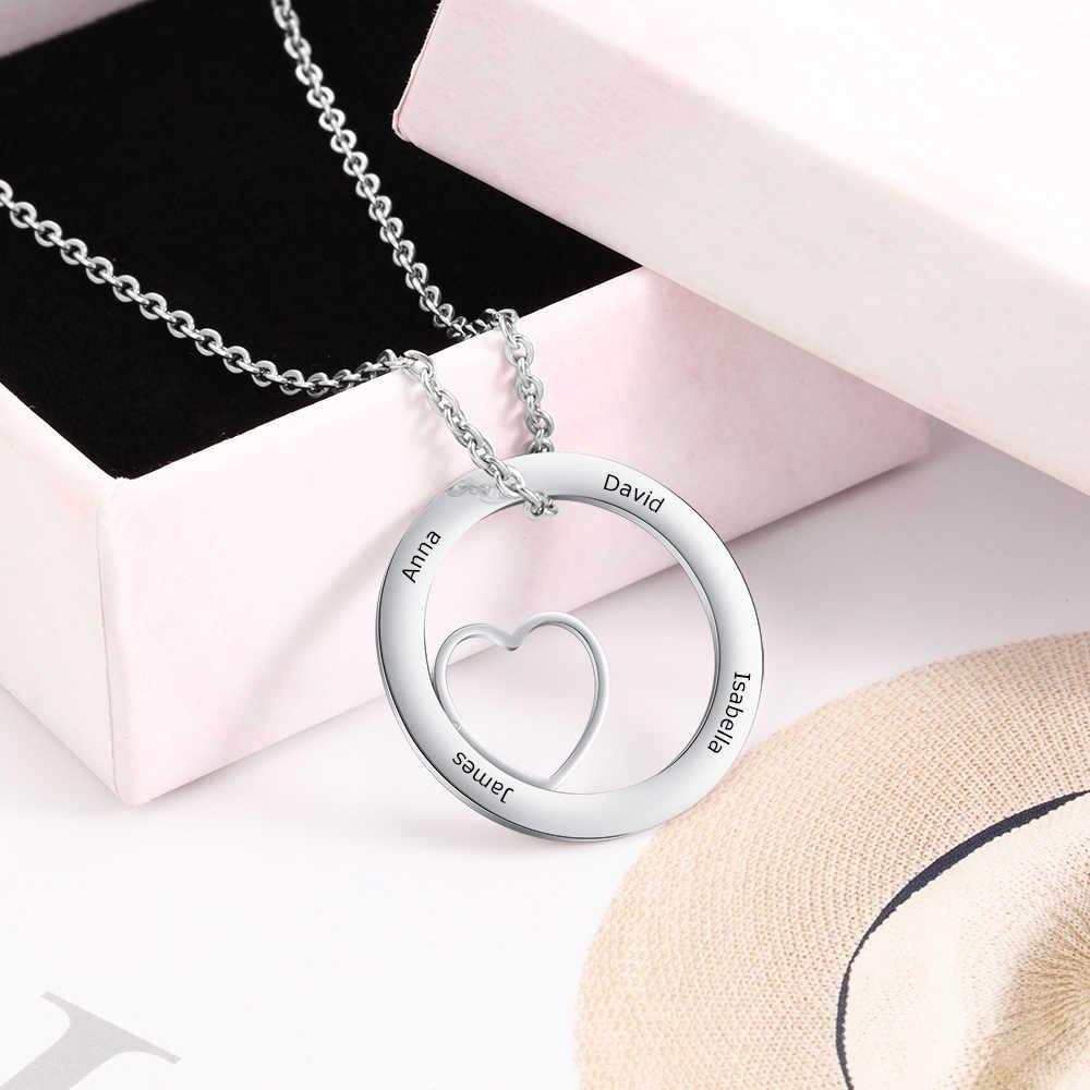 Personnalisez le pendentif rond de bijoux faits sur commande d'acier inoxydable de mode de collier avec le coeur gravent des noms cadeau Simple de Style pour elle