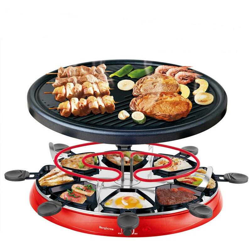 Double couches sans fumée Raclette grillade cuisson four électrique Barbecue Grill chauffage poêle poêle Barbecue fer plaque antiadhésive EU