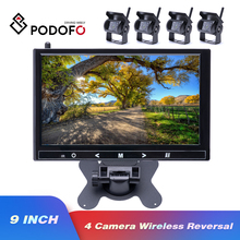 """Podofo 9"""" inch Wireless Car Monitor TFT Car Backup Cameras Monitor for Truck Parking Rearview System Rear Cameras Voltage 12 24V"""