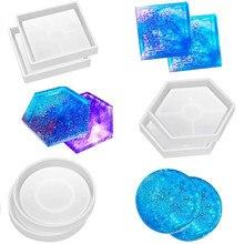 1 pçs 10 estilos diy hexagonal redonda forma irregular coaster bandeja de cristal resina cola epoxy molde amor base chá coaster