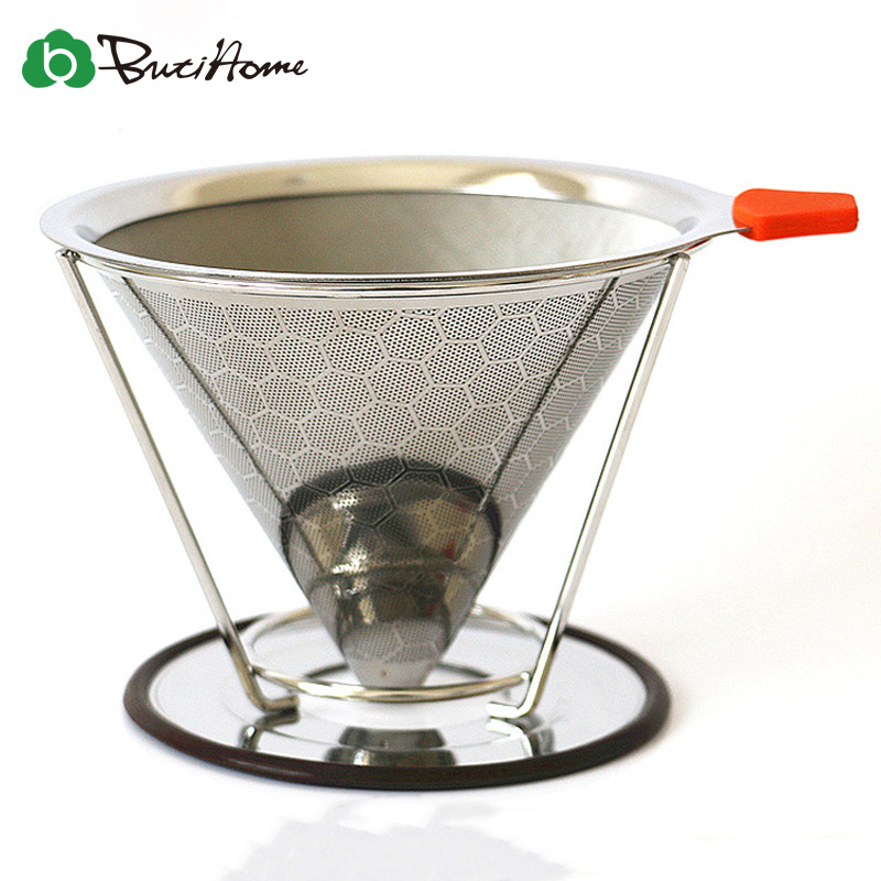 Reusable Coffee Filter Stainless Steel Holder Metal Mesh Funnel Baskets Brew Drip Coffee Filters Dripper Drip Coffee Filter Cup