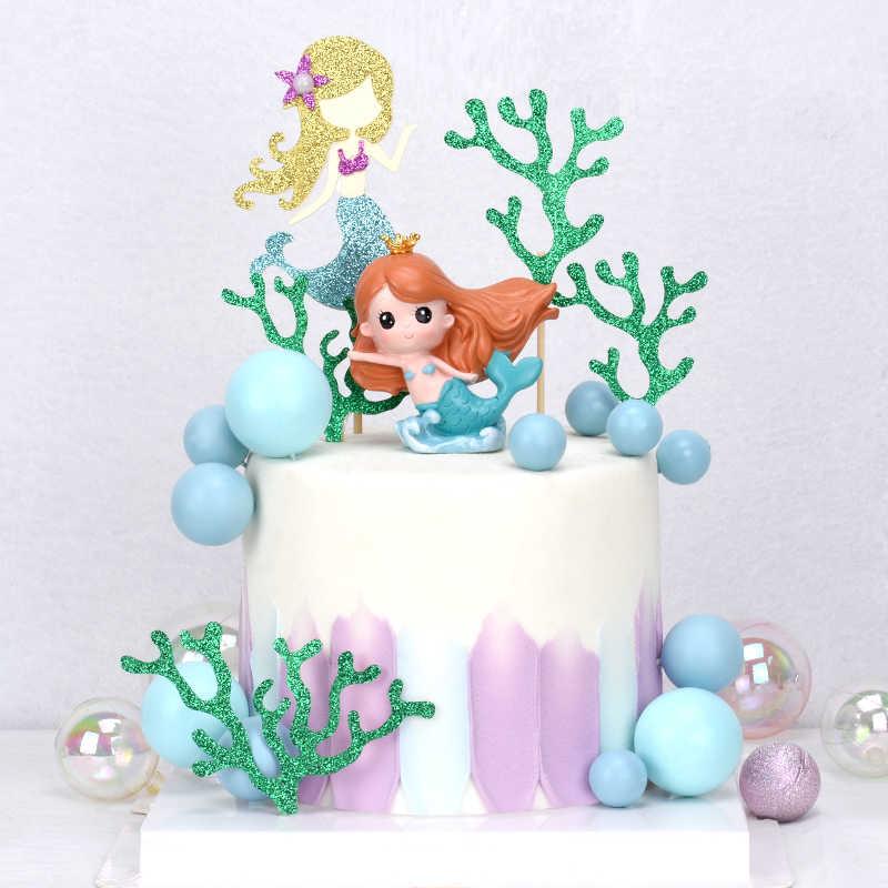 Cakelove In Mahkota Putri Duyung Dekorasi Laser Biru Fishtail Kue Topper untuk Hari Anak Perlengkapan Pesta Ulang Tahun Dessert Lucu