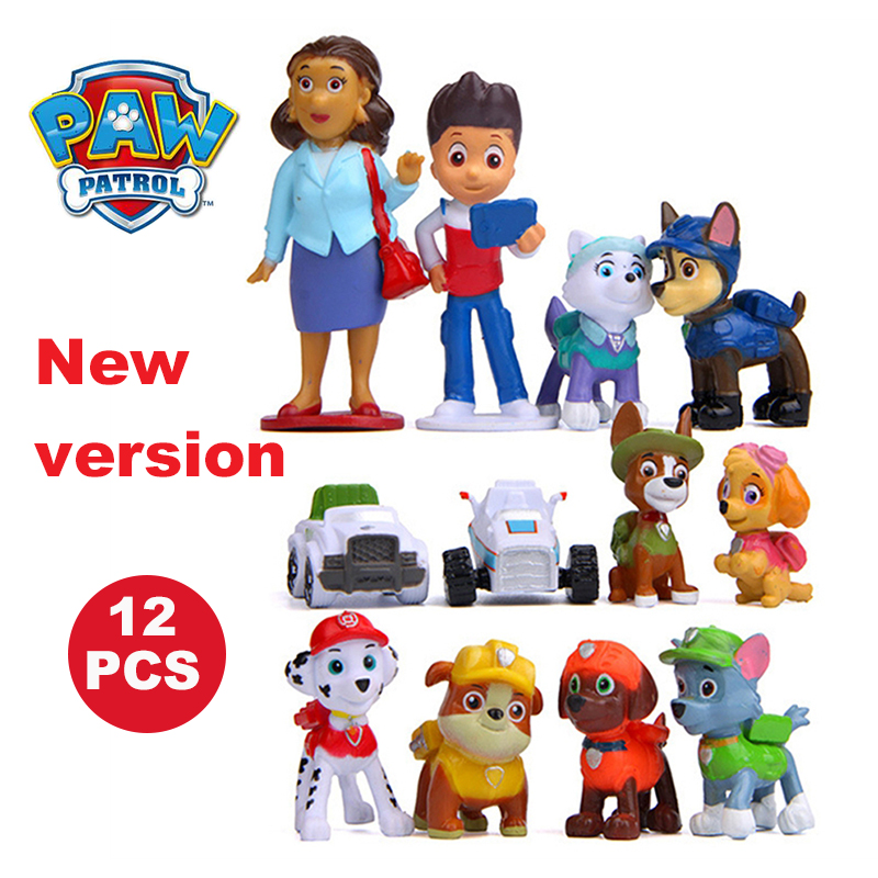 Paw Patrol 12Pcs/8Pcs Mini Dog Modle Patrol Puppy Captain Action Figure Model New year Boy's Gift Toys for Children image