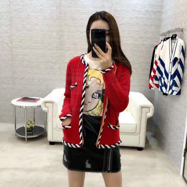 Red Short Wool Sweater Cashmere Women Cardigan Coat Autumn 2019 New Fashion Woven Lace Pocket Leisure Sweater Female