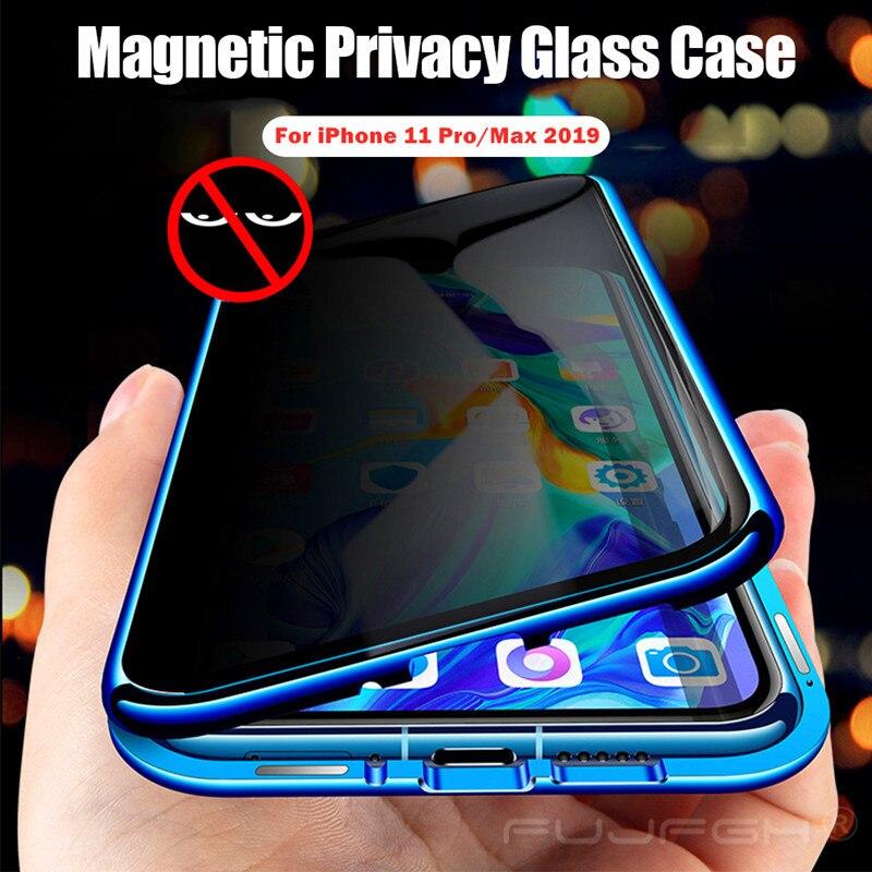 Confidentialité Verre Trempé Magnétique étui pour iPhone 11 Pro 6 8 7plus X XS MAX Anti-regard Aimant Pare-chocs En Métal Pour iPhone XR Xs Max
