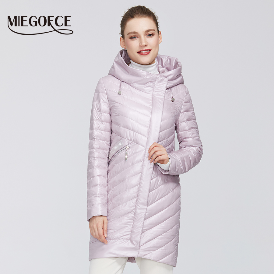 MIEGOFCE 2020 New Spring Women Collection Women's Cotton Jacket Windproof Coat Medium-Long With Durable Collar Hood Female Parka