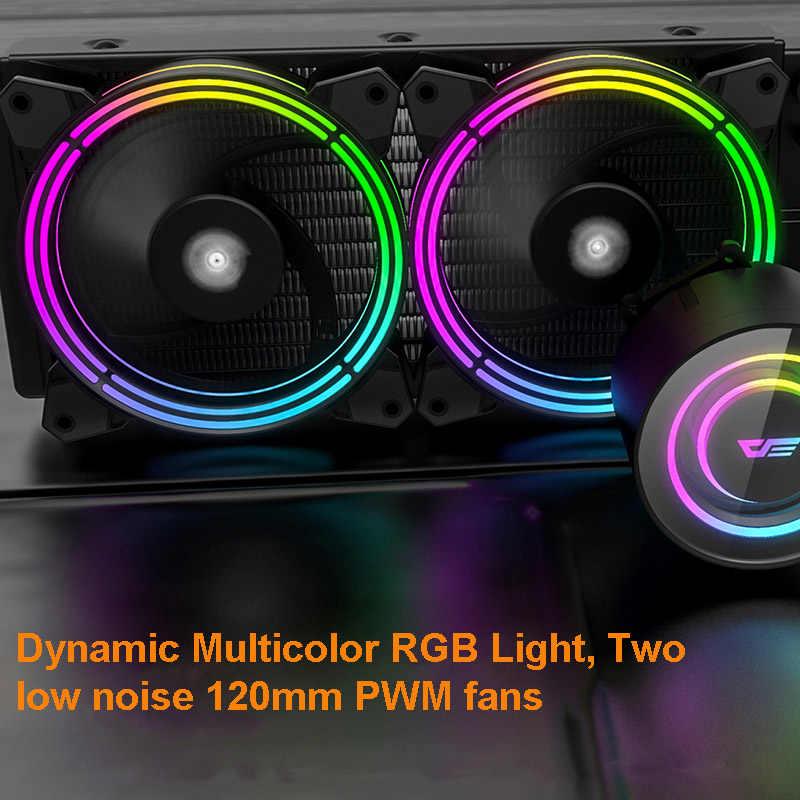 DarkFlash chłodnica procesora obudowa PC chłodzenie cieczą wodną AIO chłodnica grzejnika 240mm synchronizacja wentylatora RGB dla AMD Ryzen/LGA 2066/2011/155X