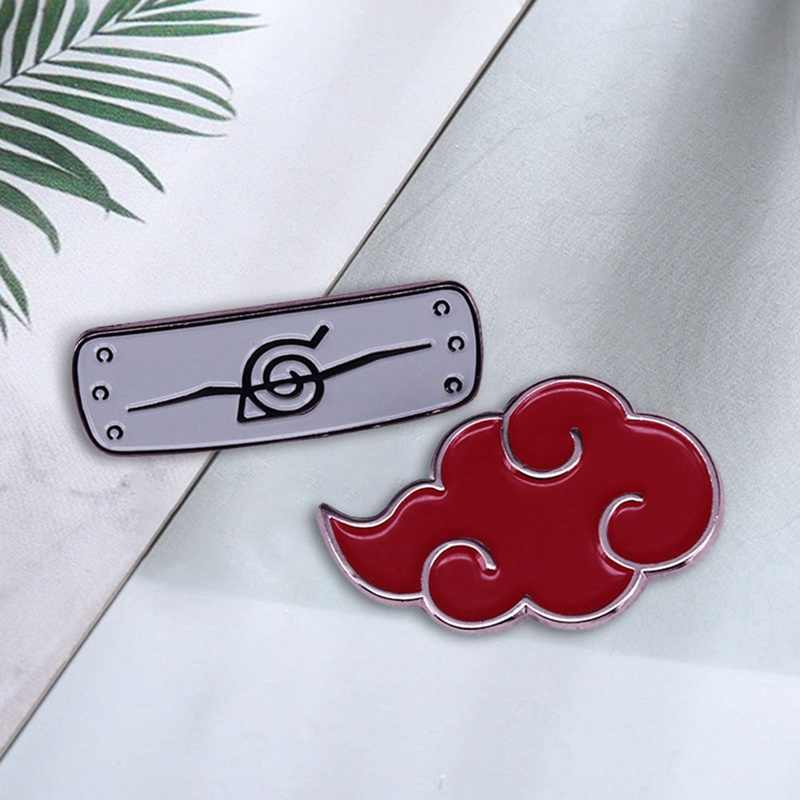 2 Stks/set Naruto Shippuden Symbolen & Pictogrammen Emaille Pin Set Cool Anime Cartoon Cosplay Gift Kleding Tas Rugzakken Decoraties