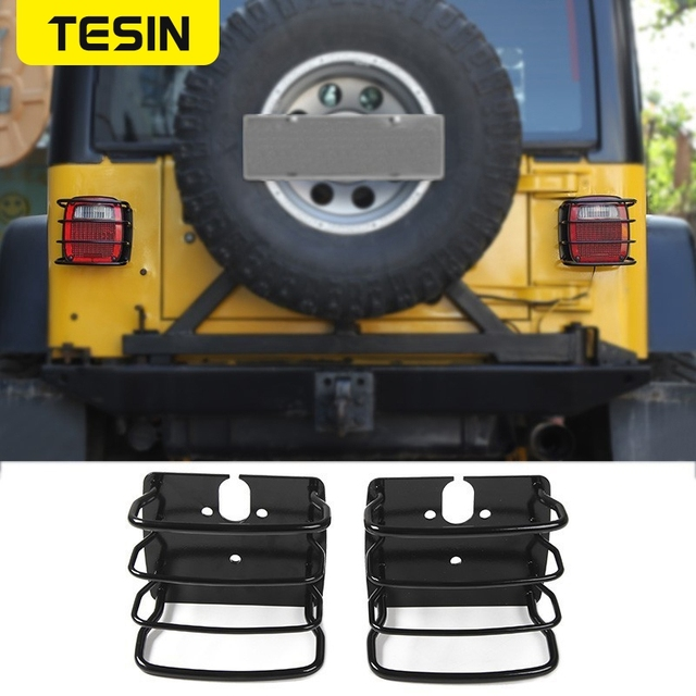 TESIN Metal Auto Tail Light Cover Trim Frame Rear Lamp Guard Protective Sticker for Jeep Wrangler TJ 1997 2006 Car Styling