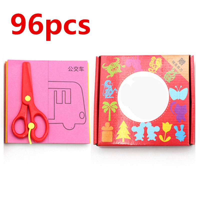 96pcs/set Kids Cartoon Color Paper Folding And Cutting Toys Children Kingergarden Art DIY Educational Toys Child Birthday