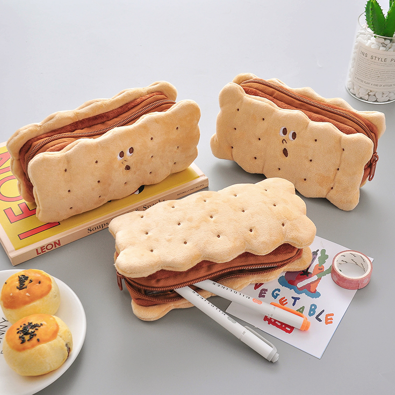 2020 Sharkbang Kawaii Cookie Sandwich Biscuit Soft Plush Pencil Case Bag Cute Pencilcase Kids Birthday Gift School Stationery