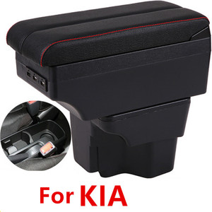 For Russia KIA K2 Rio 3 Armrest Box 2016 2012 2015 2014 2013 2012 Car Storage USB Leather Auto Cup Holder