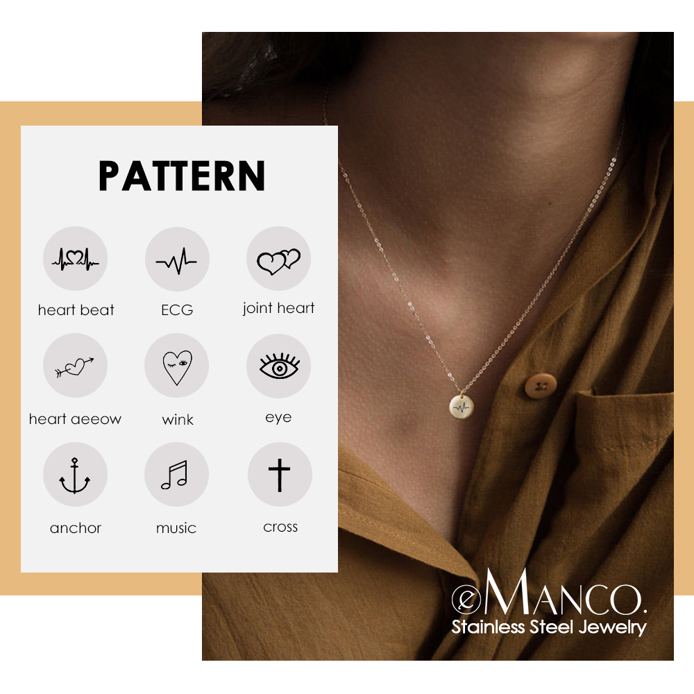 EManco Custom Personalized Heart Pattern Pendant Necklace Women 316L Stainless Steel Necklace Female Fashion Jewelry