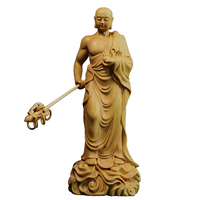 20CM Ksitigarbha Sculpture Boxwood Carvings House Ornaments Solid Wood Buddha Statue Crafts Dizang Wang Bodhisattva Home Decor