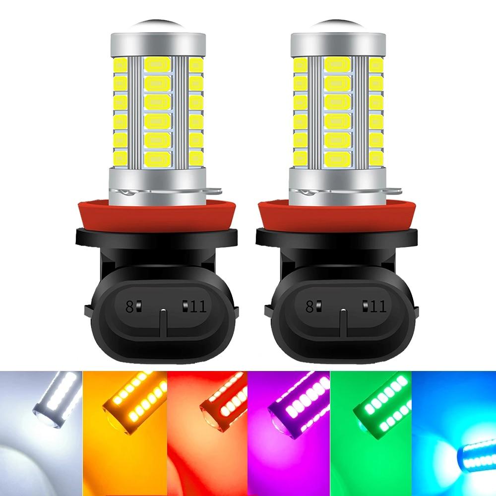 2 шт. H8 H11 светодиодный лампы HB4 9006 HB3 9005 H16 JP H9 туман светильник s вождения 5730 33SMD задний фонарь автомобиля светильник парковки 12V Авто 6000 К белый...