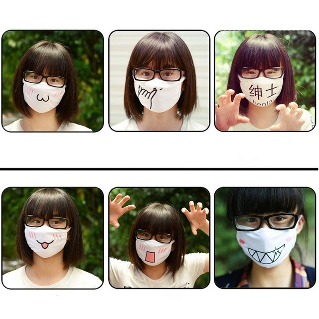 Wholesale 10pcs Japan Anime Face Mask Cosplay Mouth-muffle Kaomoji-kun Emoticon Kawaii Anti-Dust Cotton Mouth Masks Breathable 3