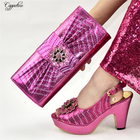 High class African pump shoes matching with handbag set for wedding/party 9310 4 heel height 10.5cm