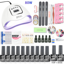 Manicure Set UV LED Nail Lamp Dryer With 10pcs Gel Polish Kit Soak Off For Art Tools