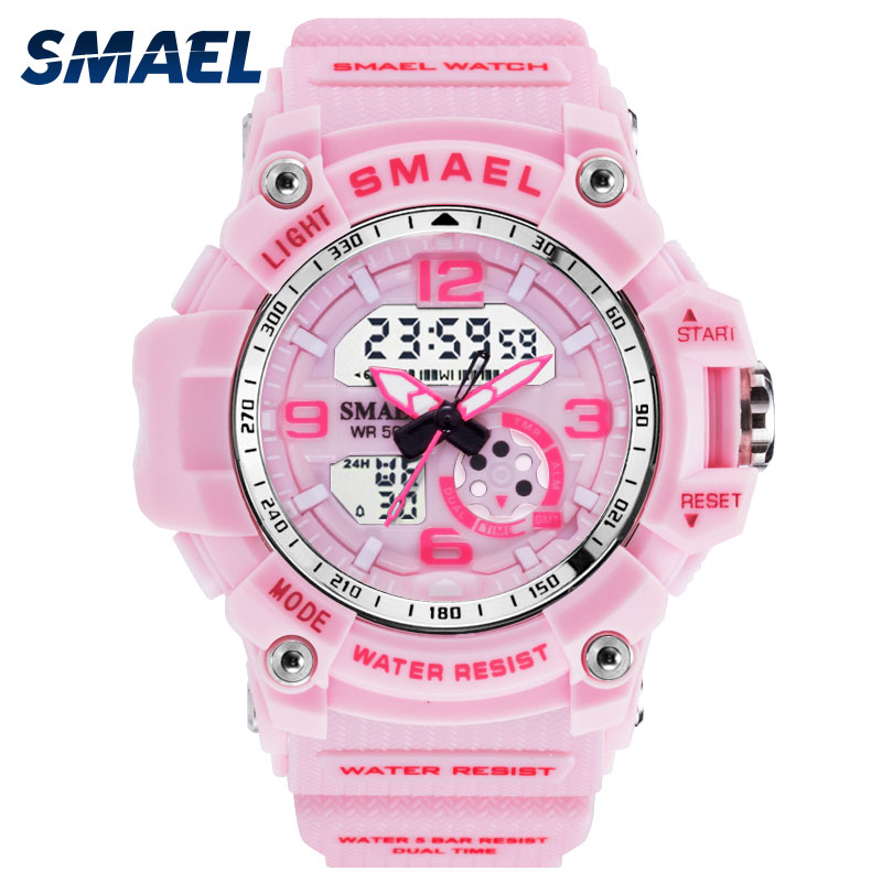SMAEL Woman Watches Sports Outdoor LED Watches Digital Clocks Woman Army Watches Military Big Dial 1808 Women Watch Waterproof