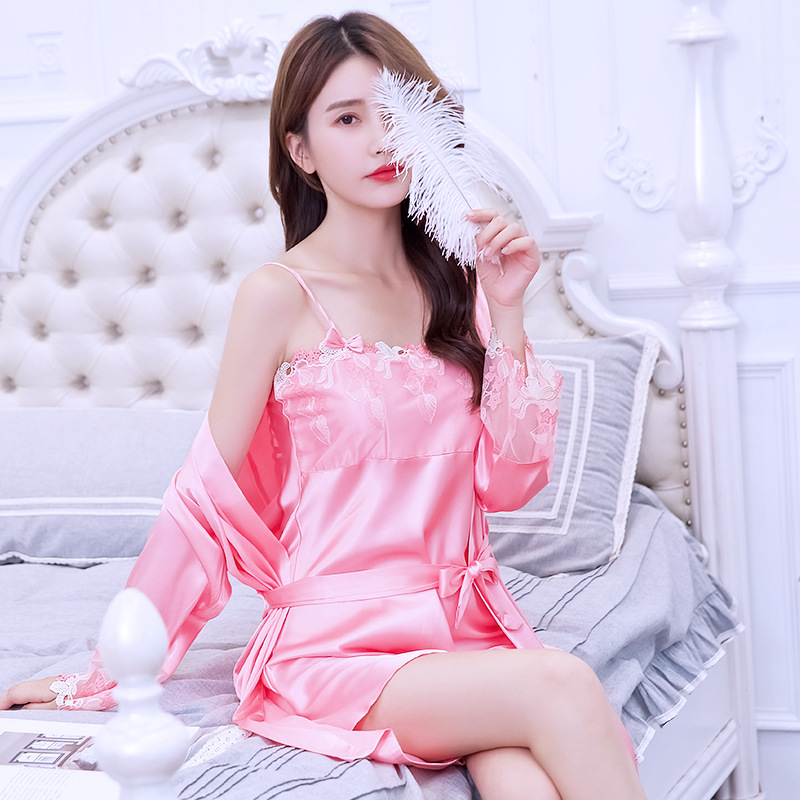 Women's Sleepwear Women's Summer Silk Pajamas Imitated Silk Fabric Two-Piece Set Thin Sexy Lace Strap New Style Plus-sized Women