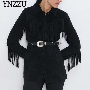 Black Women tassel Faux leather jacket 2019 New arrival With belt Long sleeve Female Outwear Coats Loose Fashion YNZZU 9O034