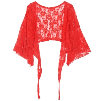 Sexy Belly Dance Dancing Lace Blouse Choli Top Bra Dancewear Costumes-Red image