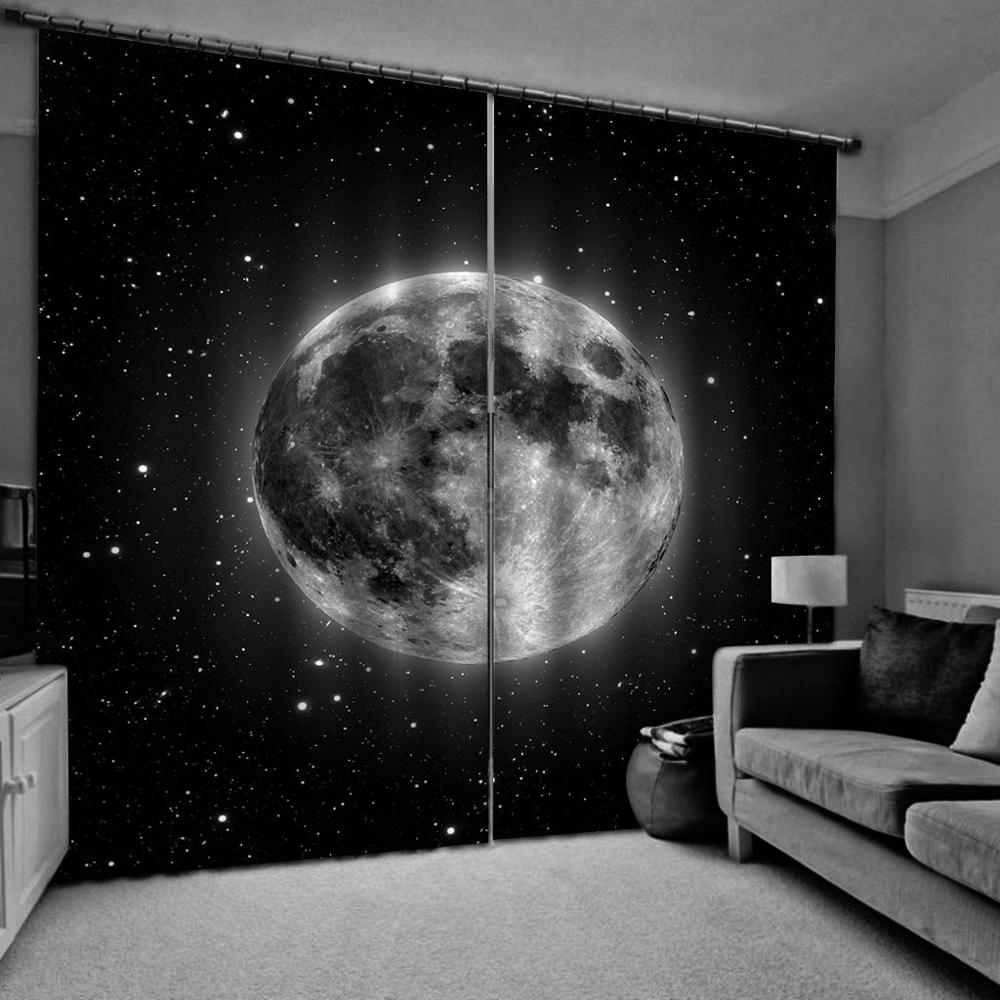 3D Window Curtains Living Room Wedding Bedroom Cortinas Drapes Black Starry Sky Curtains