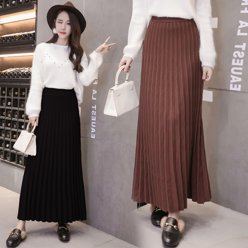Knitted Skirt Autumn And Winter Women's 2019 New Style High-waisted Yarn Black And White With Pattern Long Skirts Versatile Casu