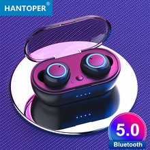 HANTOPER TWS Mini Wireless Earbuds Invisible Bluetooth Earphones 5.0 Portable Stereo Bass Headset with charging box(China)