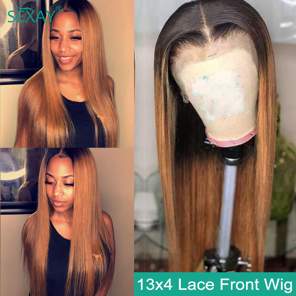 SEXAY 13x4 Lace Front Human Hair Wigs Pre Plucked 150% Ombre 1B 30 Brown Blonde Lace Front Wig Malaysian Straight Human Hair Wig