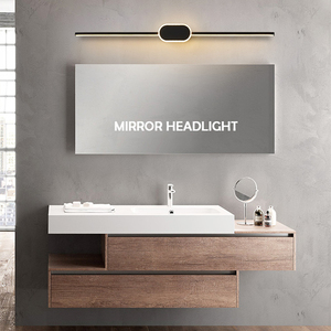 Image 5 - Black/White Modern LED Mirror Lights 0.4M~0.8M wall lamp Bathroom bedroom headboard wall sconce lampe Anti fog espelho banheiro