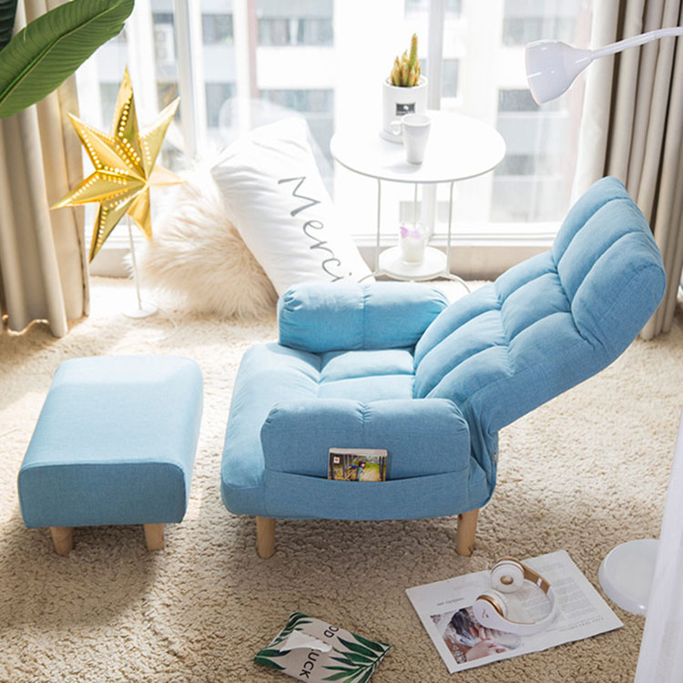 Adjustable Sofa Bed Chair Stools Sets with Storage Pockets Bedroom Furniture For Sleeping Relaxing Reading